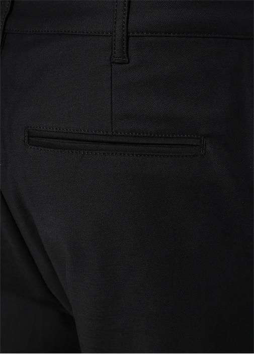 Siyah Normal Bel Boru Paça Dokulu Pantolon