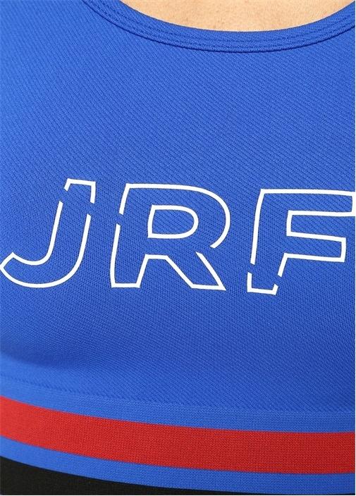 Deal Mavi Logo Baskılı Şeritli Spor Sütyeni