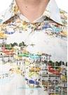 Slim Fit Beyaz Klasik Yaka Şehir Baskılı Gömlek