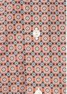 Slim Fit Turuncu Klasik Yaka Çiçek Desenli Gömlek