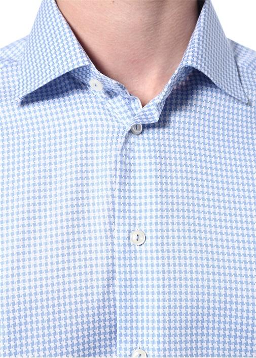 Slim Fit Mavi Klasik Yaka Kazayağı Desenli Gömlek