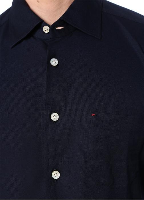 Lacivert İngiliz Yaka Oxford Gömlek