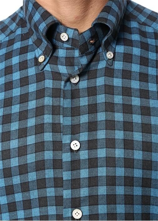 Mavi Düğmeli Yaka Kareli Gömlek