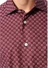 Bordo İngiliz Yaka Geometrik Desenli Gömlek