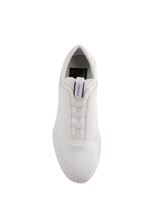 Beyaz Logolu Şerit Detaylı Erkek Yün Sneaker