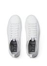 Beyaz Çorap Formlu Detaylı Erkek Deri Sneaker