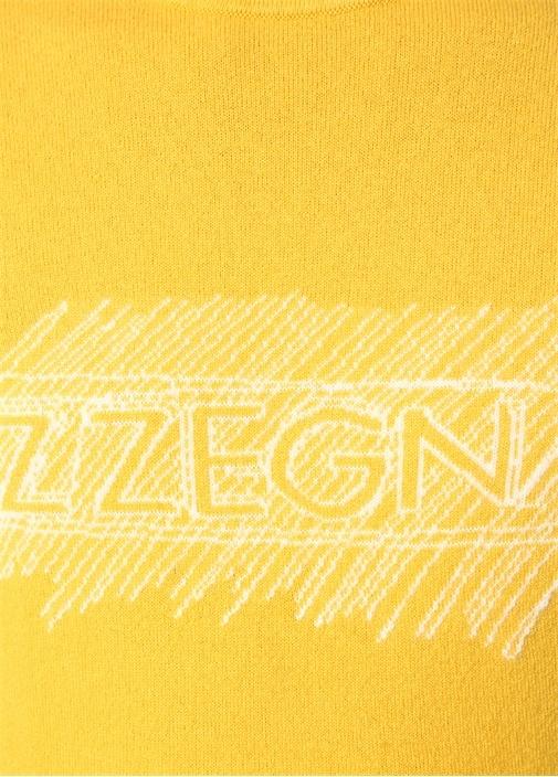 Sarı Bisiklet Yaka Logo Jakarlı Kaşmir Kazak