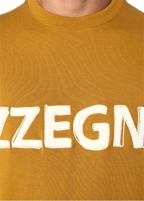 Sarı Bisiklet Yaka Kabartmalı Logolu Sweatshirt
