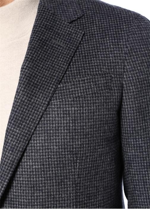 Drop 8 Kelebek Yaka Mikro Kazayağı Desenli Ceket