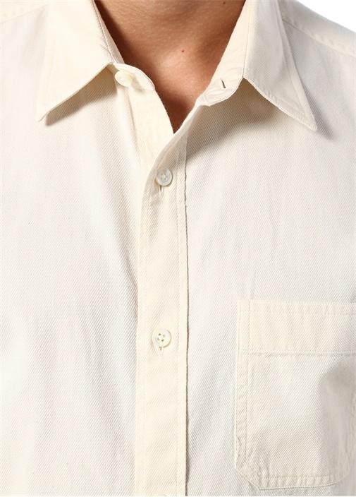 Krem İngiliz Yaka Dokulu Gömlek