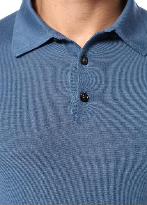 Mavi Polo Yaka Dokulu Yün Triko