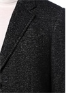 Siyah Kelebek Yaka Balık Sırtı Dokulu Yün Palto