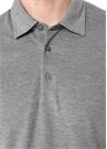 Gri Polo Yaka Düğme Kapatmalı Dokulu T-shirt