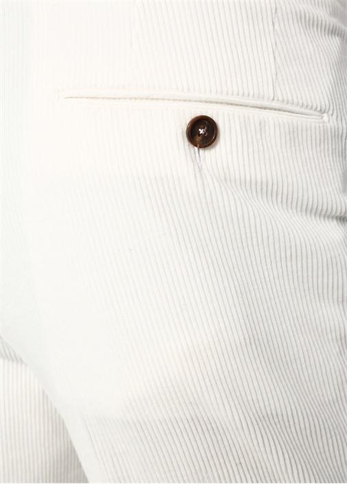 Drop 6 Beyaz Dokulu Boru Paça Kadife Pantolon