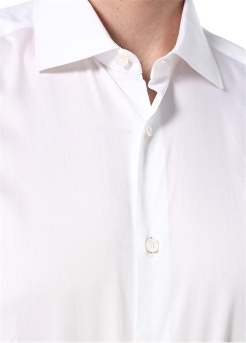 100 Fili Beyaz İngiliz Yaka Düğme Kapatmalı Gömlek