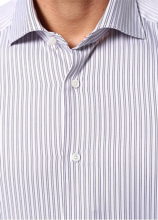 Beyaz Mor Çizgili İngiliz Yaka Gömlek