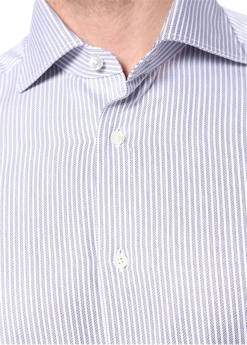Mavi Beyaz İngiliz Yaka Çizgili Trofeo Gömlek