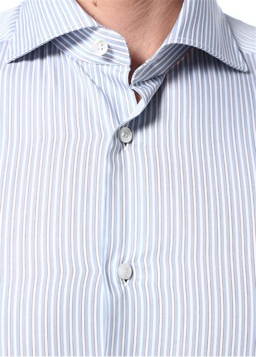 100 Fili Mavi İngiliz Yaka Düğmeli Çizgili Gömlek