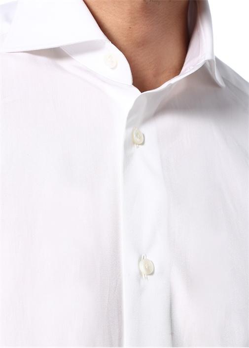 Beyaz Pamuklu Poplin Gömlek
