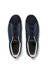 Siyah Lacivert Lastik Detaylı Erkek Deri Sneaker