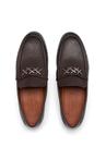 Kahverengi logo Bantlı Erkek Deri Loafer