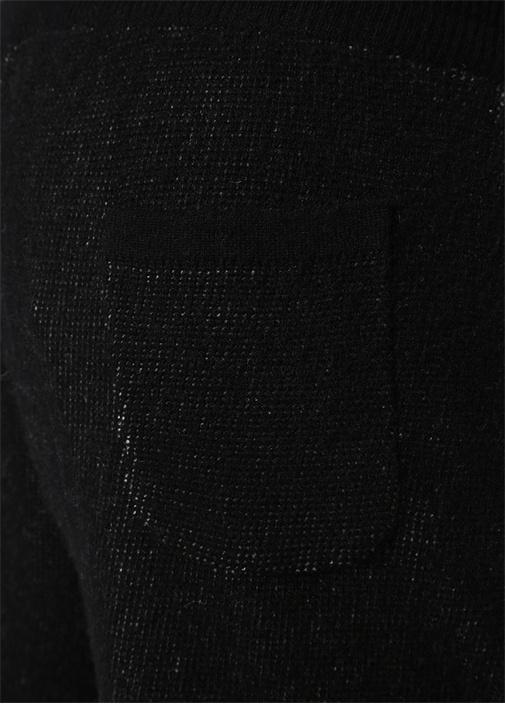 Siyah Paça Detaylı Kaşmir Eşofman Altı