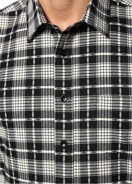 Siyah İngiliz Yaka Ekose Desenli Gömlek