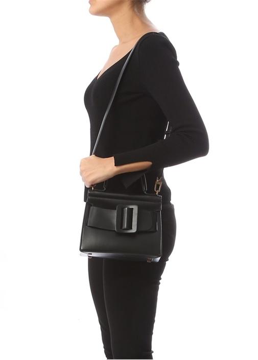 Karl Siyah Kemer Detaylı Kadın Deri Çanta