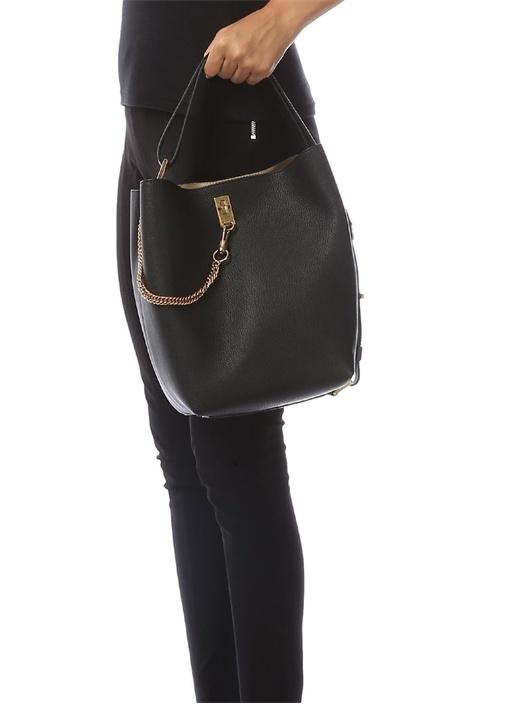 GV Siyah Dokulu Kadın Deri Çanta