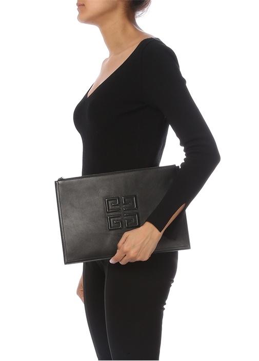Siyah Logolu Kadın Deri El Portföyü
