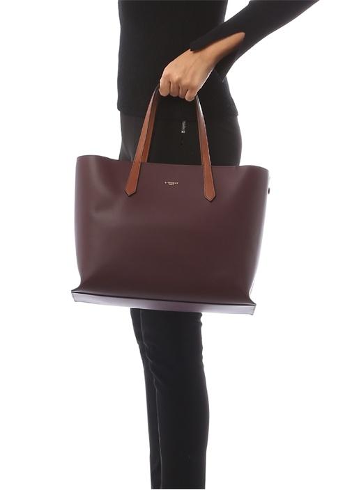 GV3 Bordo Logolu Kadın Deri Çanta