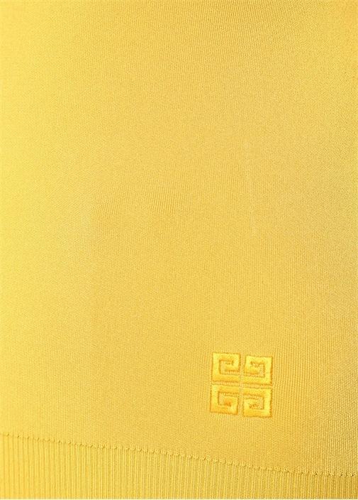 Sarı Balıkçı Yaka Logo Nakışlı Kazak