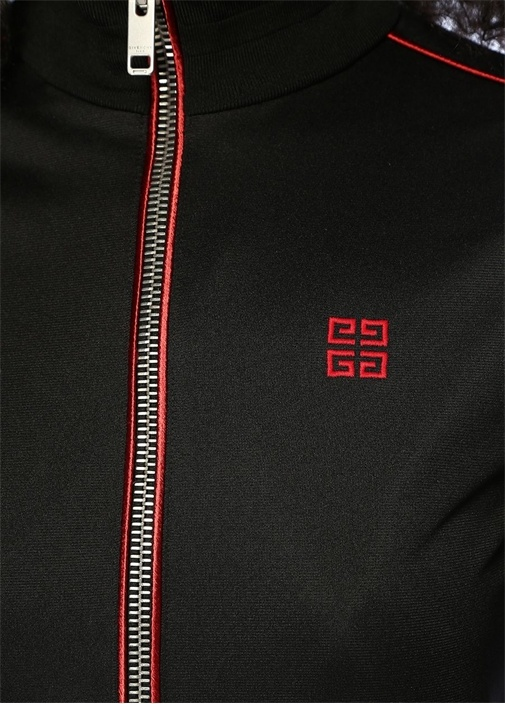 Siyah Şeritli Dik Yaka Fermuarlı Sweatshirt