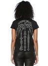 Siyah Bisiklet Yaka Yazı Baskılı Basic T-shirt