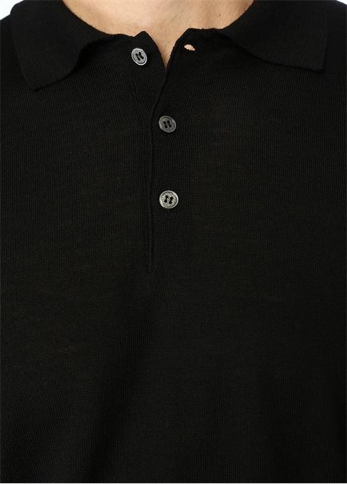Siyah Polo Yaka Yün Triko