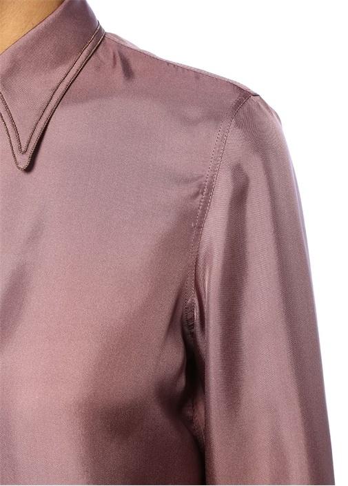 Mor İngiliz Yaka Şerit Detaylı İpek Gömlek