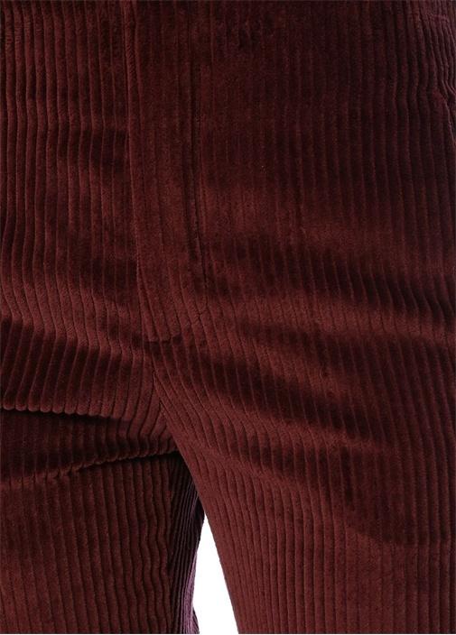 Bordo Normal Bel Bol Paça Kadife Pantolon