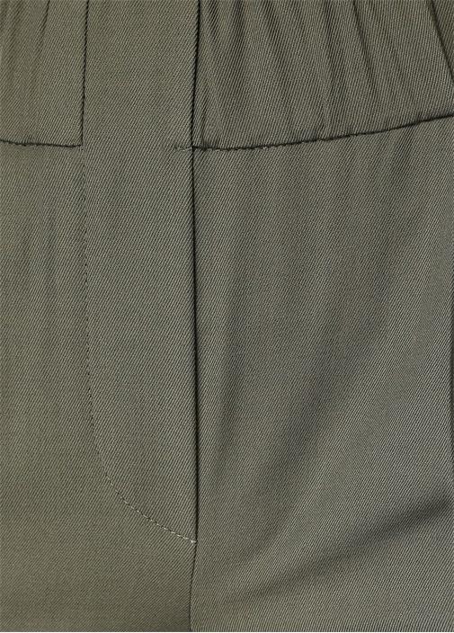 Haki Pileli Dar Paça Crop Pantolon