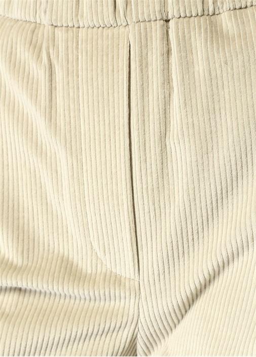 Ekru Yüksek Bel Ribli Kadife Pantolon