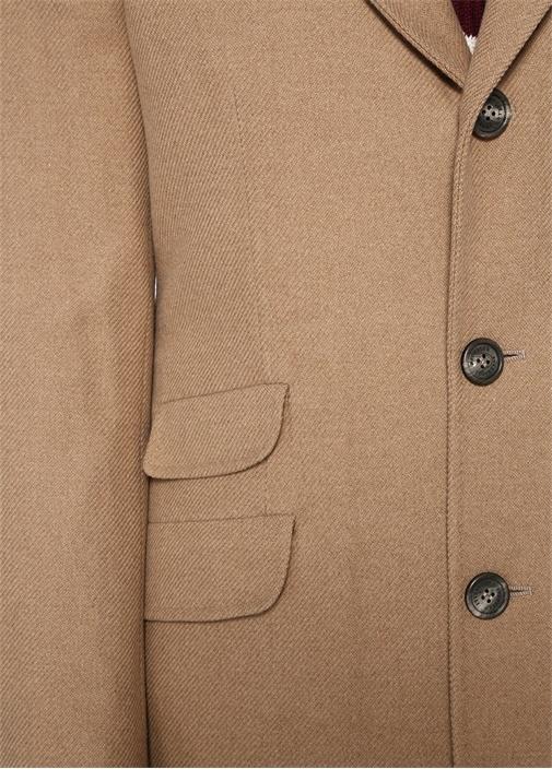 Kamel Kırlangıç Yaka Düğmeli Yün Palto