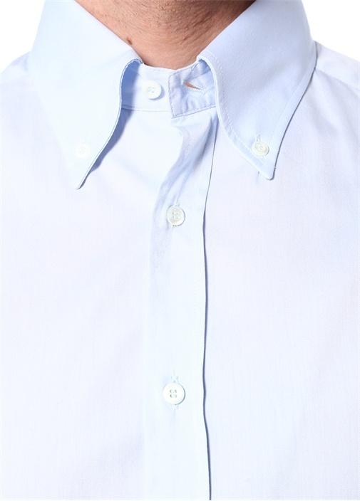 Slim Fit Mavi Düğmeli Yaka Gömlek