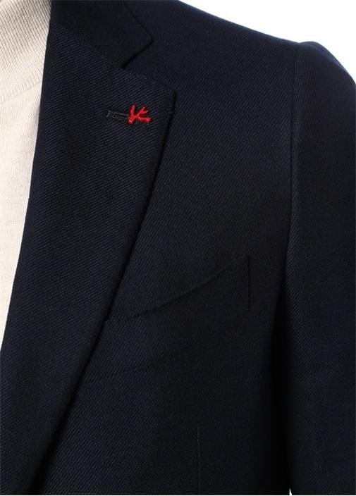 Lacivert Kelebek Yaka Broş Detaylı Ceket