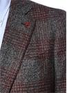 Gri Kırmızı Kelebek Yaka Ekose Desenli Ceket