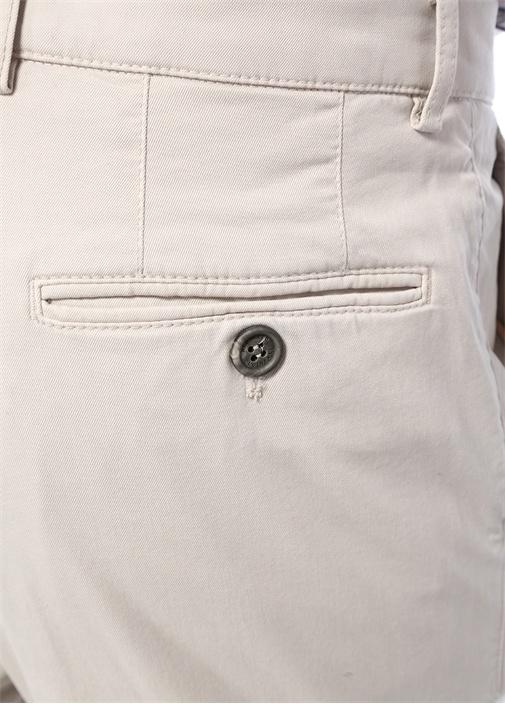 Ekru Normal Bel Dar Paça Dokulu Pantolon
