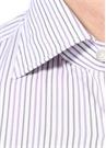 Beyaz Mor İngiliz Yaka Çizgi Desenli Gömlek