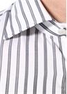 Beyaz Çizgili Kesik Yaka Gömlek