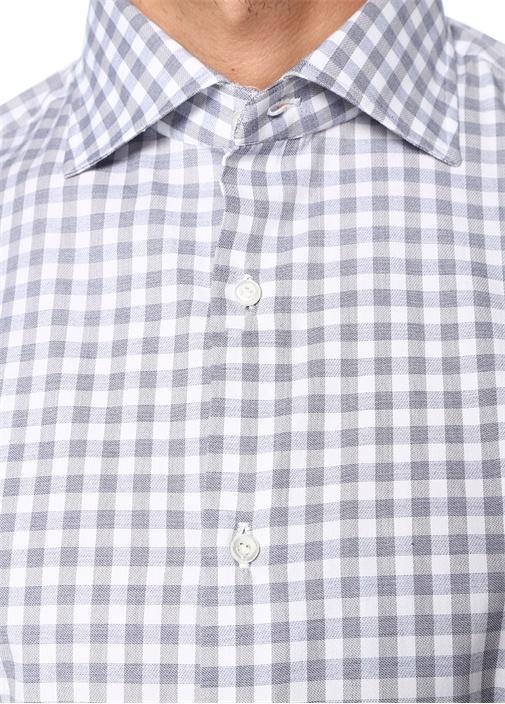 Mavi Beyaz İngiliz Yaka Kareli Gömlek