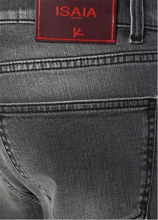 Slim Straight Fit Gri Dar Paça Jean Pantolon