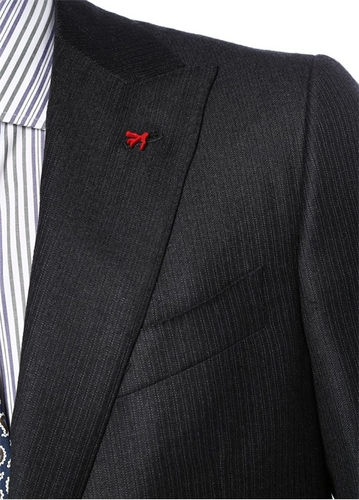 Drop 8 Gri Çizgi Desenli Yün Takım Elbise
