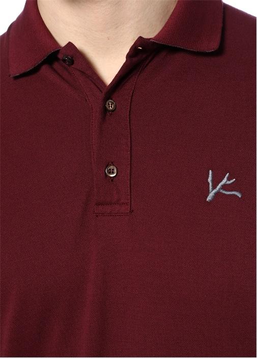 Bordo Logo Nakışlı Basic T-shirt